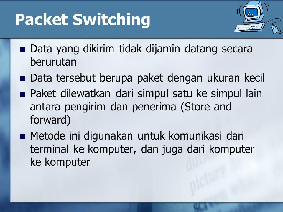 Packet Switching Data yang dikirim tidak dijamin datang secara berurutan Data tersebut berupa paket dengan ukuran kecil Paket dilewatkan dari simpul satu ke simpul lain antara pengirim dan penerima (Store and forward) Metode ini digunakan untuk komunikasi dari terminal ke komputer, dan juga dari komputer ke komputer