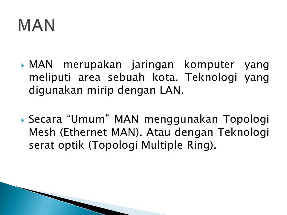 """ MAN merupakan jaringan komputer yang meliputi area sebuah kota. Teknologi yang digunakan mirip dengan LAN.  Secara """"Umum"""" MAN menggunakan Topologi"""