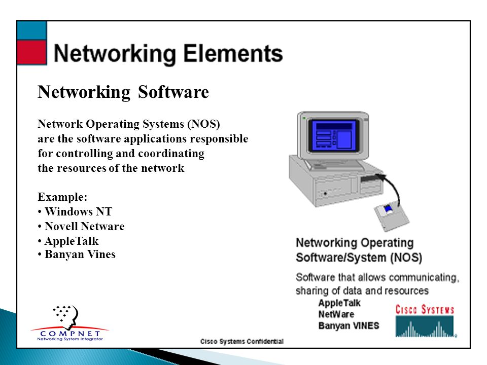 Network Operating Systems (NOS) are the software applications responsible for controlling and coordinating the resources of the network Example: Windo