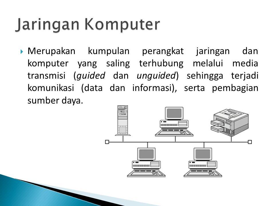  Merupakan kumpulan perangkat jaringan dan komputer yang saling terhubung melalui media transmisi (guided dan unguided) sehingga terjadi komunikasi (