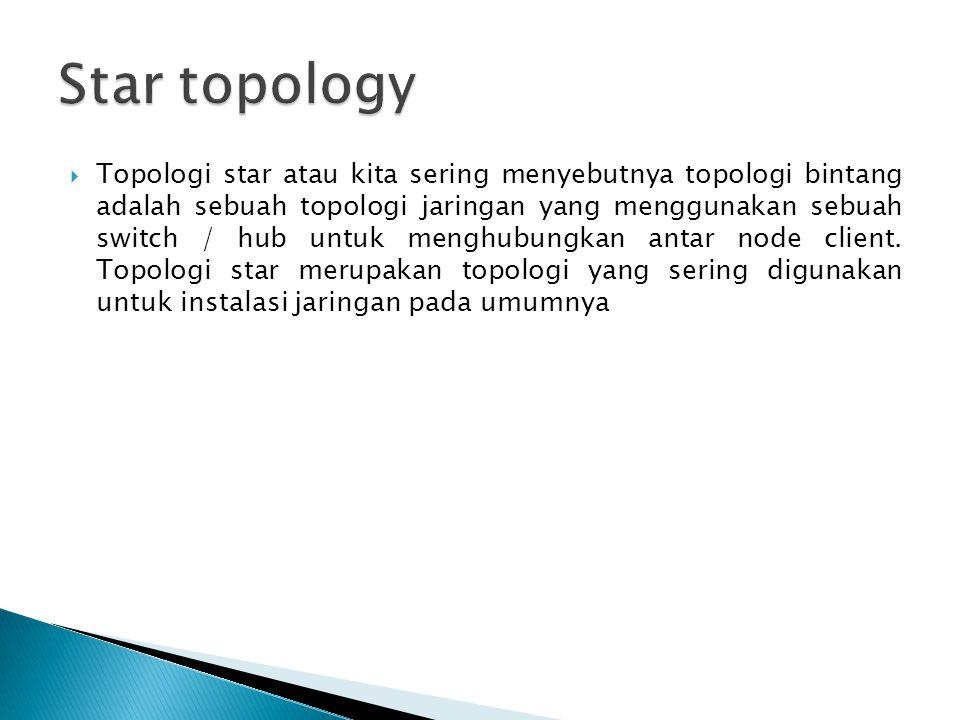  Topologi star atau kita sering menyebutnya topologi bintang adalah sebuah topologi jaringan yang menggunakan sebuah switch / hub untuk menghubungkan