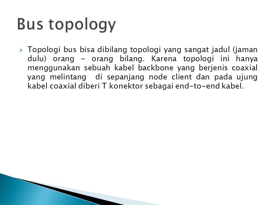  Topologi bus bisa dibilang topologi yang sangat jadul (jaman dulu) orang - orang bilang. Karena topologi ini hanya menggunakan sebuah kabel backbone