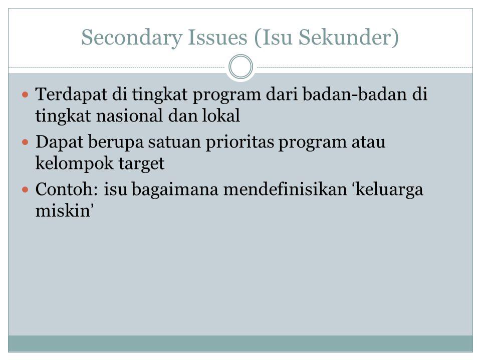 Secondary Issues (Isu Sekunder) Terdapat di tingkat program dari badan-badan di tingkat nasional dan lokal Dapat berupa satuan prioritas program atau kelompok target Contoh: isu bagaimana mendefinisikan 'keluarga miskin'