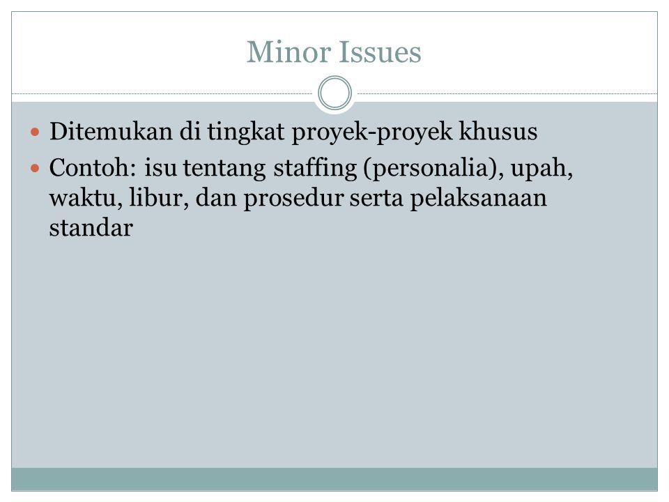 Minor Issues Ditemukan di tingkat proyek-proyek khusus Contoh: isu tentang staffing (personalia), upah, waktu, libur, dan prosedur serta pelaksanaan standar