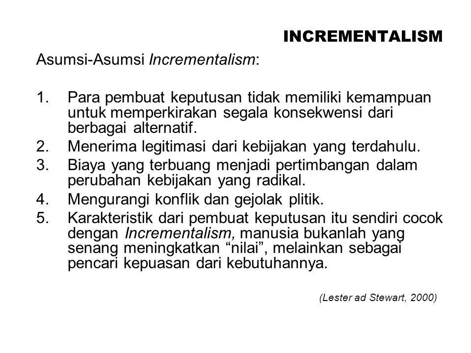 INCREMENTALISM Asumsi-Asumsi Incrementalism: 1.Para pembuat keputusan tidak memiliki kemampuan untuk memperkirakan segala konsekwensi dari berbagai al