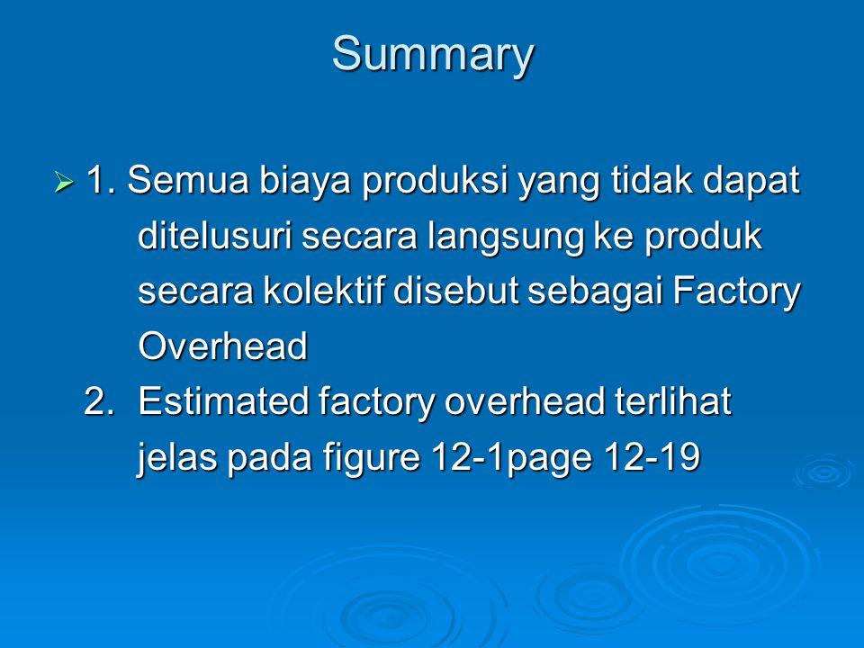 Summary  1. Semua biaya produksi yang tidak dapat ditelusuri secara langsung ke produk ditelusuri secara langsung ke produk secara kolektif disebut s