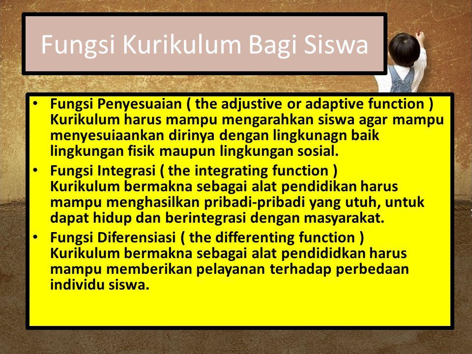 Fungsi Kurikulum Bagi Siswa Fungsi Penyesuaian ( the adjustive or adaptive function ) Kurikulum harus mampu mengarahkan siswa agar mampu menyesuiaanka