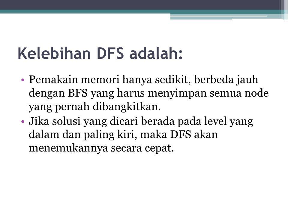 Kelebihan DFS adalah: Pemakain memori hanya sedikit, berbeda jauh dengan BFS yang harus menyimpan semua node yang pernah dibangkitkan.