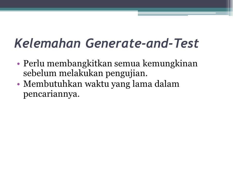 Kelemahan Generate-and-Test Perlu membangkitkan semua kemungkinan sebelum melakukan pengujian.