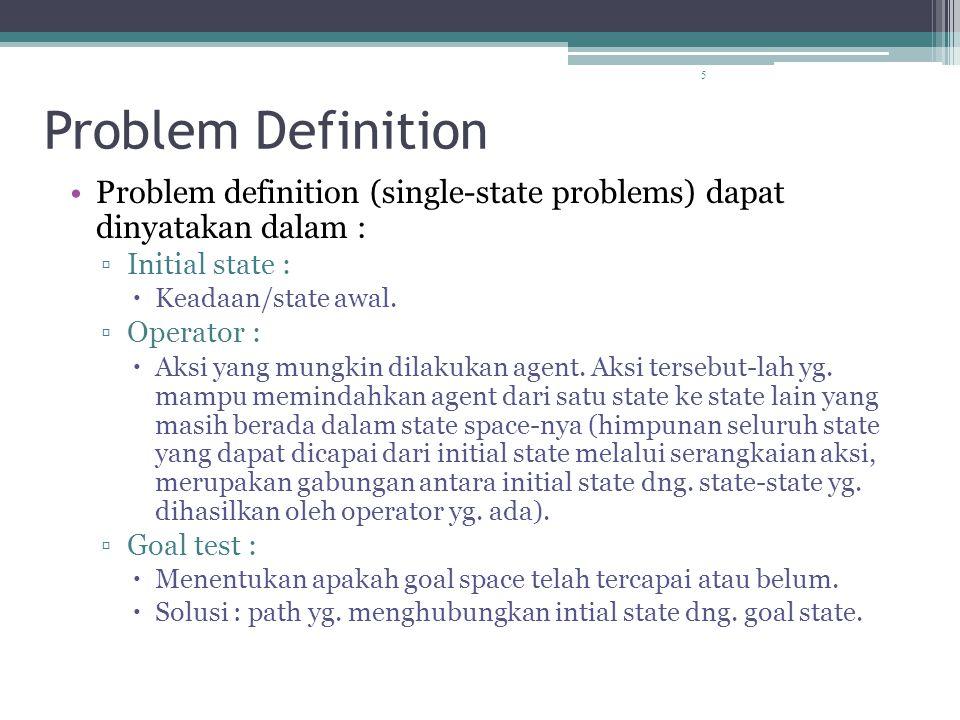 5 Problem Definition Problem definition (single-state problems) dapat dinyatakan dalam : ▫Initial state :  Keadaan/state awal.