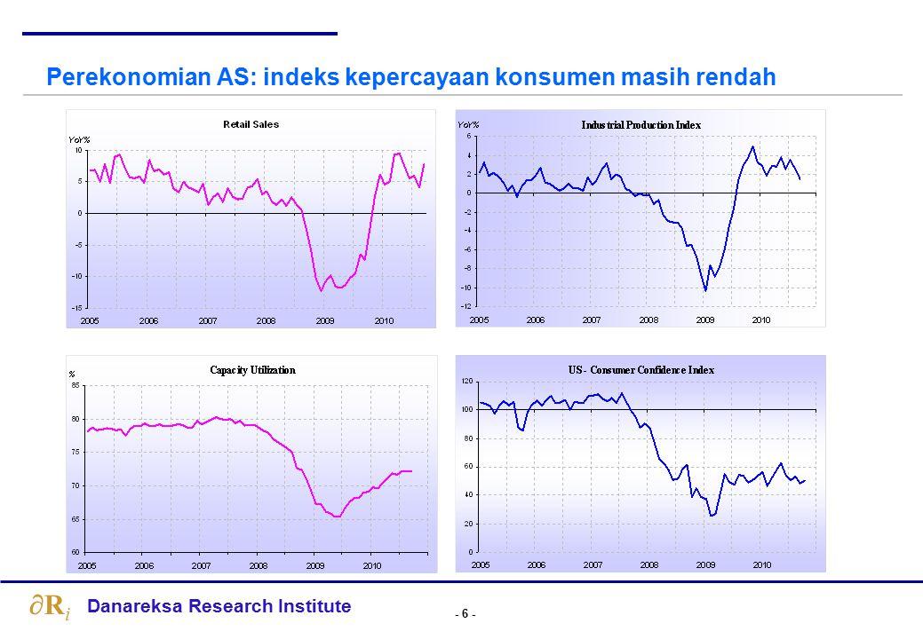 - 37 - Danareksa Research Institute RiRi Transmisi Kebijakan Monter Berjalan Lambat Meskipun BI rate sudah turun dari 9.5% pada bulan Nopember 2008 menjadi 6.5% pada bulan Agustus 2009, namun suku bunga pinjaman hingga saat ini hanya turun sedikit.