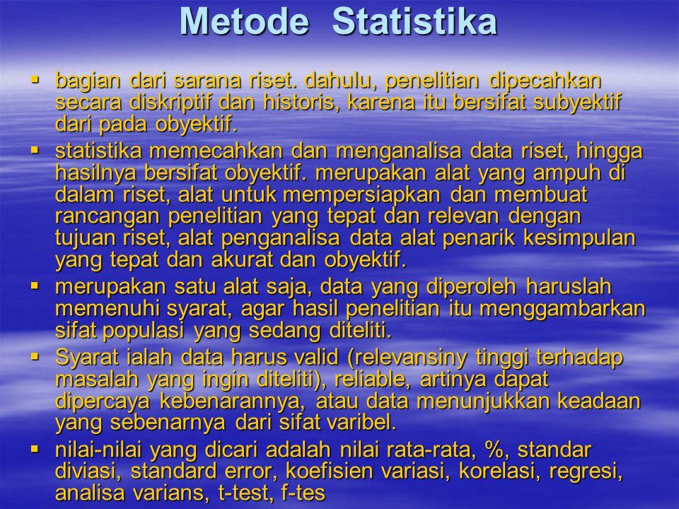 Metode Statistika  bagian dari sarana riset. dahulu, penelitian dipecahkan secara diskriptif dan historis, karena itu bersifat subyektif dari pada ob