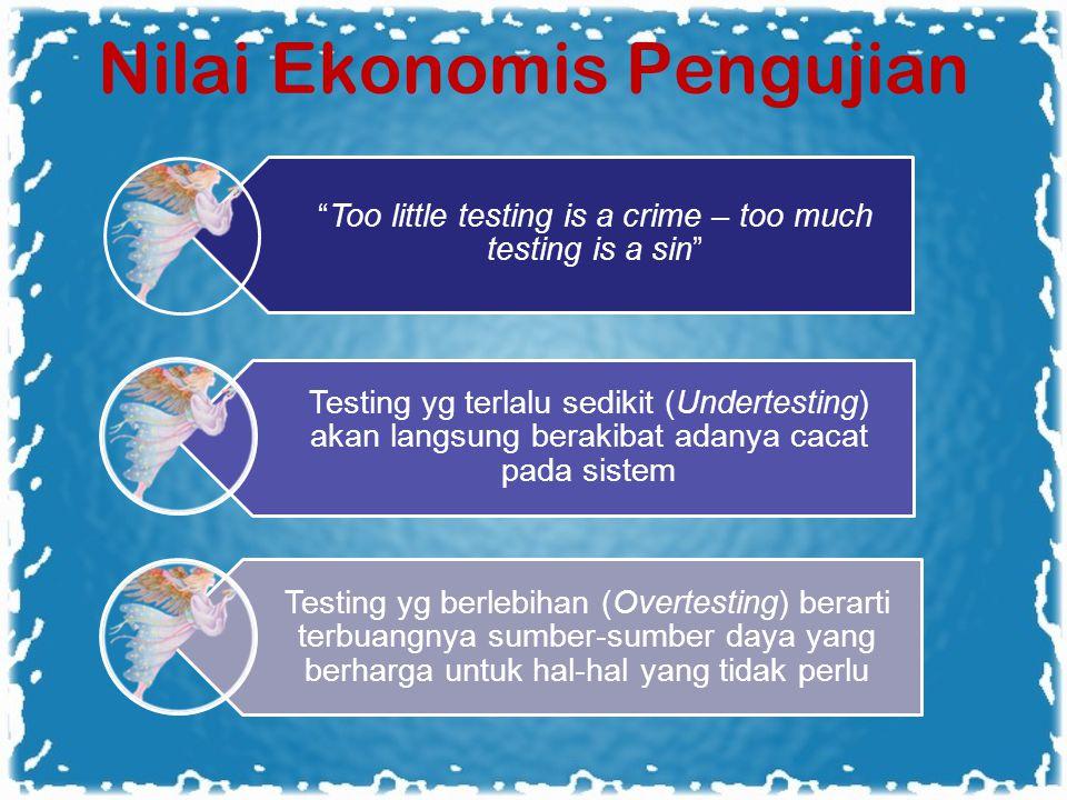 Nilai Ekonomis Pengujian Too little testing is a crime – too much testing is a sin Testing yg terlalu sedikit (Undertesting) akan langsung berakibat adanya cacat pada sistem Testing yg berlebihan (Overtesting) berarti terbuangnya sumber-sumber daya yang berharga untuk hal-hal yang tidak perlu