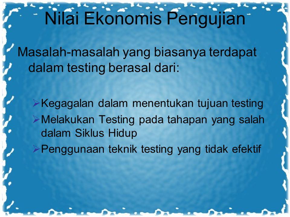 Nilai Ekonomis Pengujian Masalah-masalah yang biasanya terdapat dalam testing berasal dari:  Kegagalan dalam menentukan tujuan testing  Melakukan Te