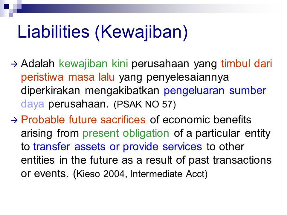 Liabilities (Kewajiban)  Adalah kewajiban kini perusahaan yang timbul dari peristiwa masa lalu yang penyelesaiannya diperkirakan mengakibatkan pengel