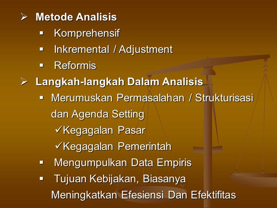  Metode Analisis  Komprehensif  Inkremental / Adjustment  Reformis  Langkah-langkah Dalam Analisis  Merumuskan Permasalahan / Strukturisasi dan