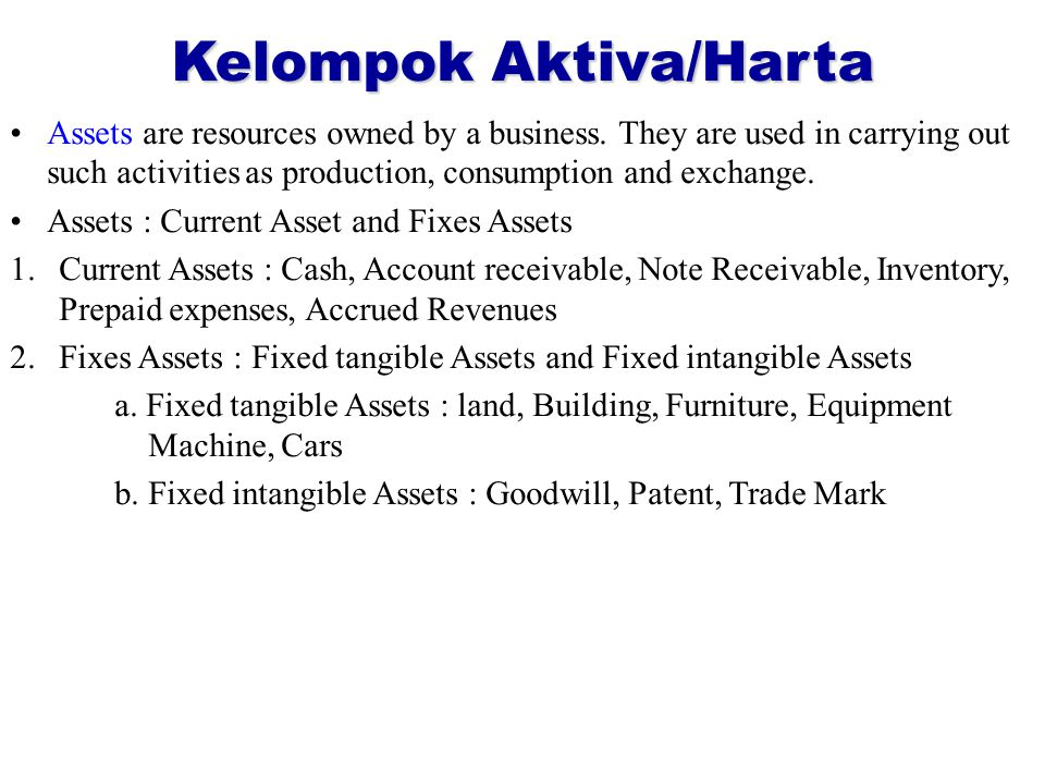 Kelompok Aktiva/Harta Assets are resources owned by a business.