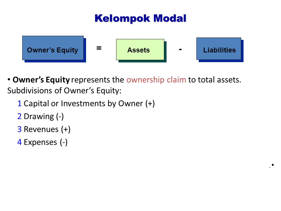 Owner's Equity represents the ownership claim to total assets.