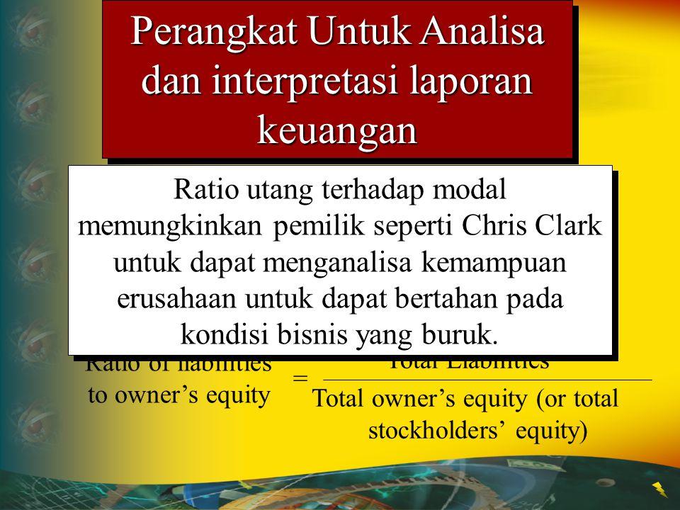 Ratio of liabilities to owner's equity = Total Liabilities Total owner's equity (or total stockholders' equity) Ratio utang terhadap modal memungkinka