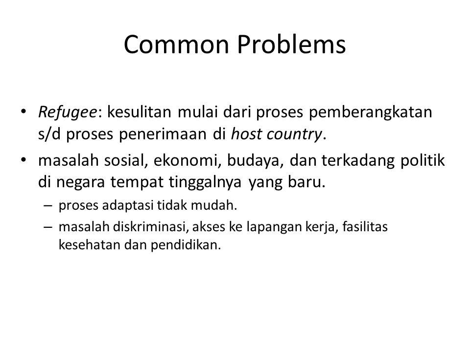 Common Problems Refugee: kesulitan mulai dari proses pemberangkatan s/d proses penerimaan di host country.