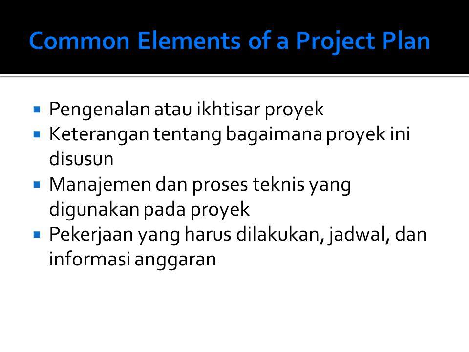  Pengenalan atau ikhtisar proyek  Keterangan tentang bagaimana proyek ini disusun  Manajemen dan proses teknis yang digunakan pada proyek  Pekerjaan yang harus dilakukan, jadwal, dan informasi anggaran