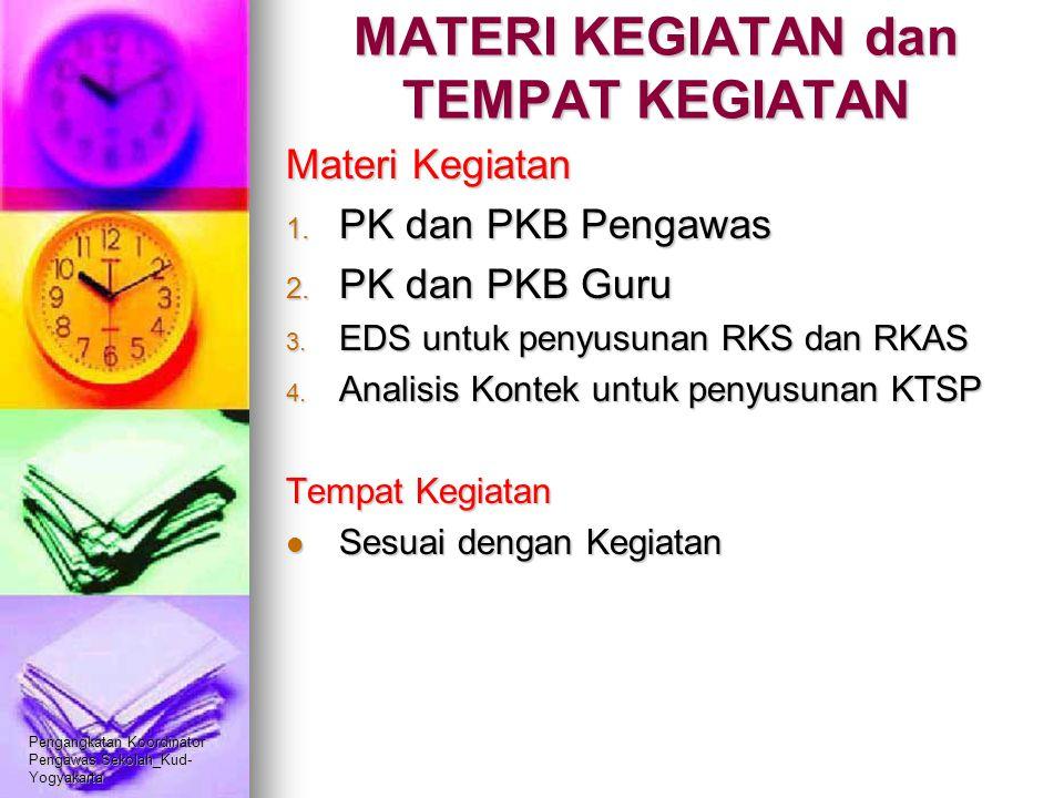 Pengangkatan Koordinator Pengawas Sekolah_Kud- Yogyakarta MATERI KEGIATAN dan TEMPAT KEGIATAN Materi Kegiatan 1. PK dan PKB Pengawas 2. PK dan PKB Gur