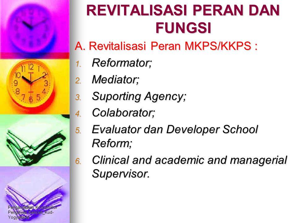 Pengangkatan Koordinator Pengawas Sekolah_Kud- Yogyakarta REVITALISASI PERAN DAN FUNGSI A. Revitalisasi Peran MKPS/KKPS : 1. Reformator; 2. Mediator;