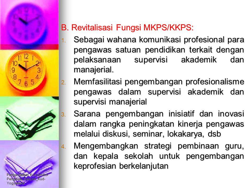 Pengangkatan Koordinator Pengawas Sekolah_Kud- Yogyakarta B. Revitalisasi Fungsi MKPS/KKPS: 1. Sebagai wahana komunikasi profesional para pengawas sat