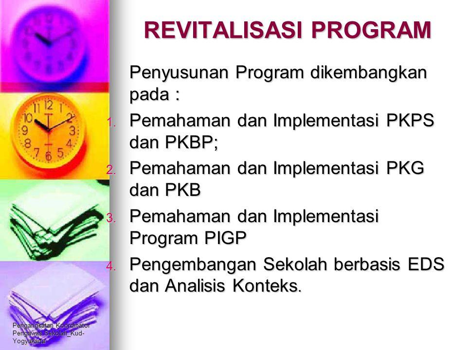 Pengangkatan Koordinator Pengawas Sekolah_Kud- Yogyakarta REVITALISASI PROGRAM Penyusunan Program dikembangkan pada : 1. Pemahaman dan Implementasi PK