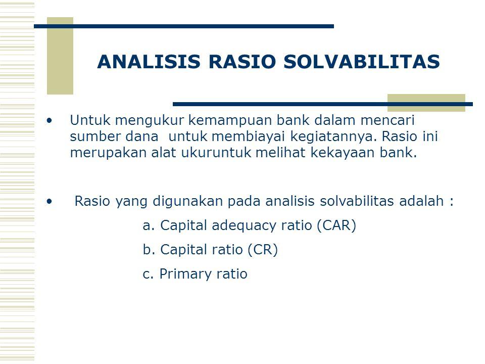 ANALISIS RASIO SOLVABILITAS Untuk mengukur kemampuan bank dalam mencari sumber dana untuk membiayai kegiatannya. Rasio ini merupakan alat ukuruntuk me