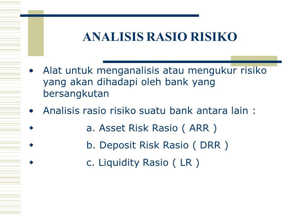ANALISIS RASIO RISIKO Alat untuk menganalisis atau mengukur risiko yang akan dihadapi oleh bank yang bersangkutan Analisis rasio risiko suatu bank ant