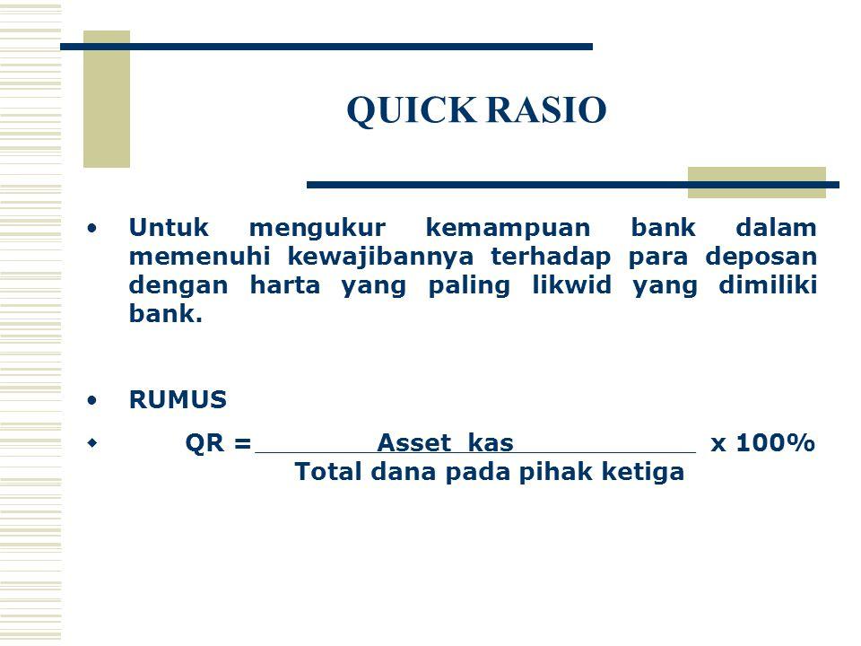 QUICK RASIO Untuk mengukur kemampuan bank dalam memenuhi kewajibannya terhadap para deposan dengan harta yang paling likwid yang dimiliki bank. RUMUS