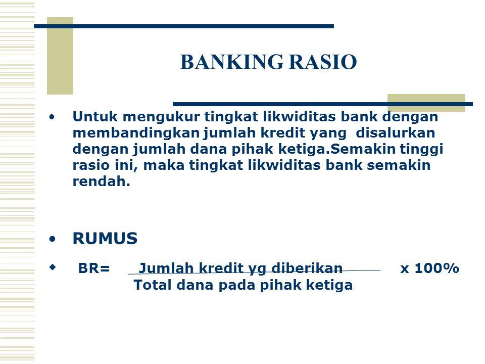 BANKING RASIO Untuk mengukur tingkat likwiditas bank dengan membandingkan jumlah kredit yang disalurkan dengan jumlah dana pihak ketiga.Semakin tinggi