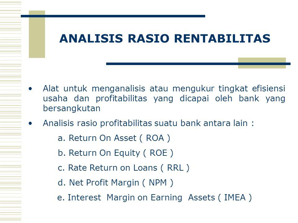 ANALISIS RASIO RENTABILITAS Alat untuk menganalisis atau mengukur tingkat efisiensi usaha dan profitabilitas yang dicapai oleh bank yang bersangkutan