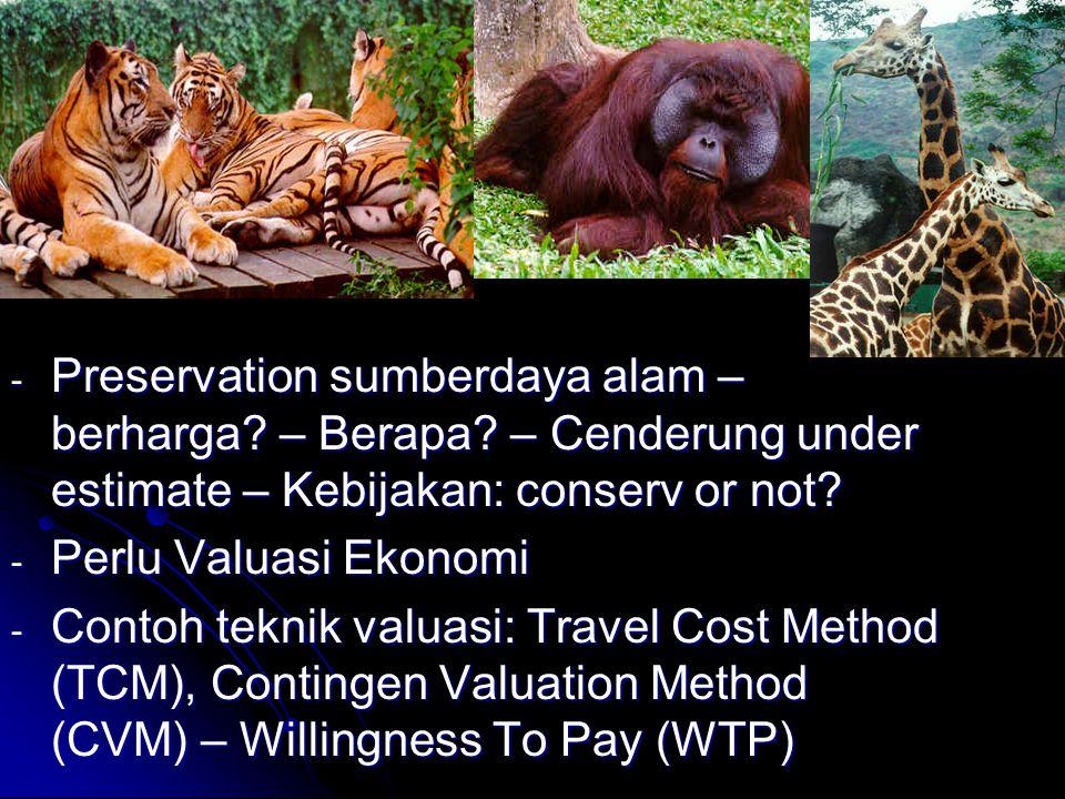 - Preservation sumberdaya alam – berharga.– Berapa.