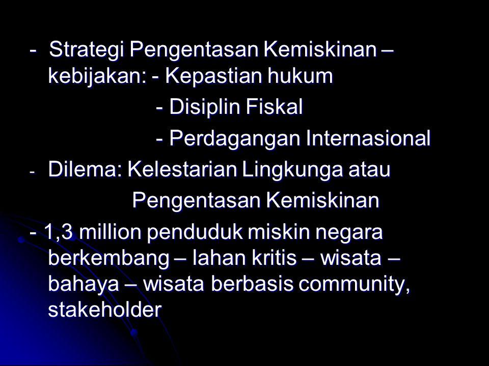 - Strategi Pengentasan Kemiskinan – kebijakan: - Kepastian hukum - Disiplin Fiskal - Disiplin Fiskal - Perdagangan Internasional - Perdagangan Internasional - Dilema: Kelestarian Lingkunga atau Pengentasan Kemiskinan Pengentasan Kemiskinan - 1,3 million penduduk miskin negara berkembang – lahan kritis – wisata – bahaya – wisata berbasis community, stakeholder