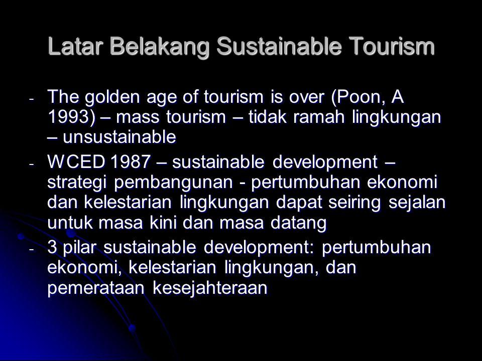 - 3 pilar Sustainability – social dimension – WTO – pengentasan kemiskinan global – wisata - Wisata – pertumbuhan ekonomi, investasi, lapangan pekerjaan - 80% penduduk miskin dunia ada di 12 negara – 11 negara: kegiatan ekonomi terpenting: wisata - -UNCTAD: project sustainable tourism – eliminating poverty – 2002 World Summit on Sustainable Development - Afrika
