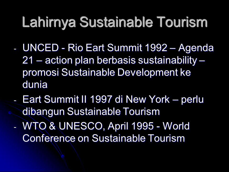 Pengertian, Definisi, Sustainable Development, Sustainable Tourism - Sustainable Development – bukan fokus pada kelestarian lingkungan secara fisik – fokus pada pembangunan berbasis prinsip2 keberlanjutan - Tujuan Utama Sustainable Development – mengurangi kemiskinan – tidak merusak lingkungan - Sustainable Tourism – tidak selalu terkait dengan kelestarian lingkungan secara fisik – comprehensip dengan budaya, ekonomi, kebijakan