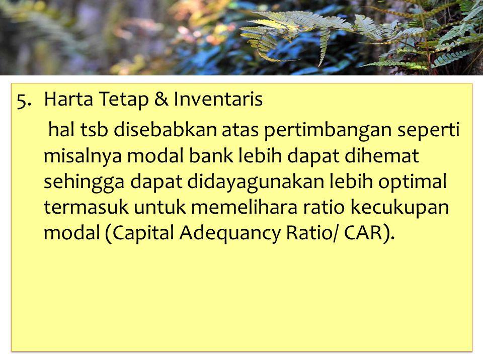 TAHUN 2012-FINNY REDJEKI S.E.,M.M.(B1075) 5. Harta Tetap & Inventaris hal tsb disebabkan atas pertimbangan seperti misalnya modal bank lebih dapat dih