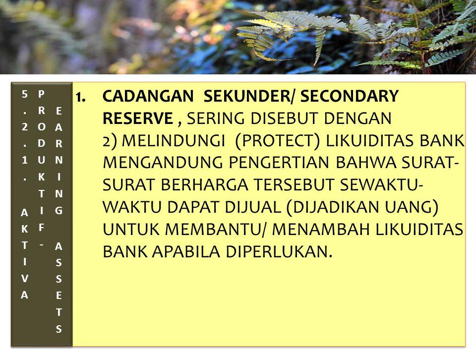 TAHUN 2012-FINNY REDJEKI S.E.,M.M.(B1075) 1.CADANGAN SEKUNDER/ SECONDARY RESERVE, SERING DISEBUT DENGAN 2) MELINDUNGI (PROTECT) LIKUIDITAS BANK MENGANDUNG PENGERTIAN BAHWA SURAT- SURAT BERHARGA TERSEBUT SEWAKTU- WAKTU DAPAT DIJUAL (DIJADIKAN UANG) UNTUK MEMBANTU/ MENAMBAH LIKUIDITAS BANK APABILA DIPERLUKAN.