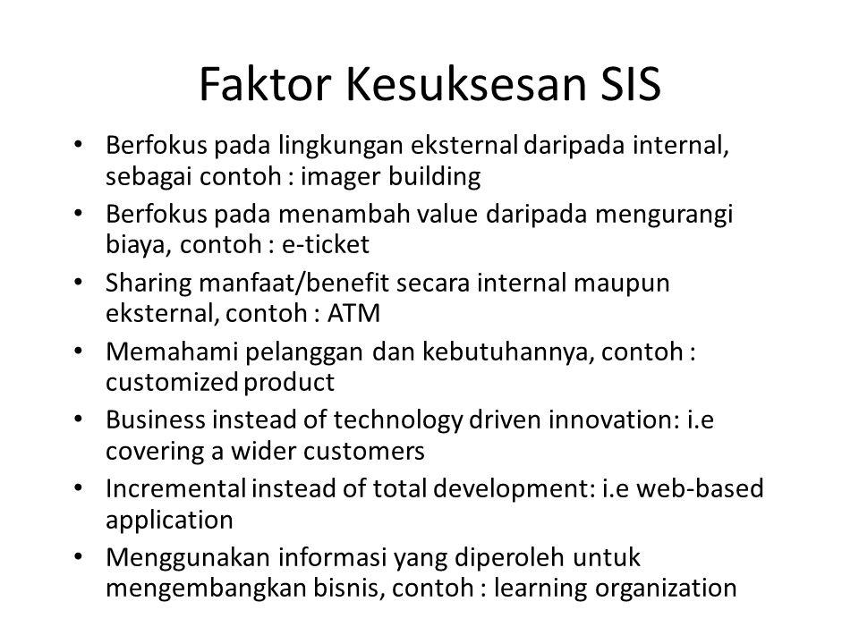 Faktor Kesuksesan SIS Berfokus pada lingkungan eksternal daripada internal, sebagai contoh : imager building Berfokus pada menambah value daripada men