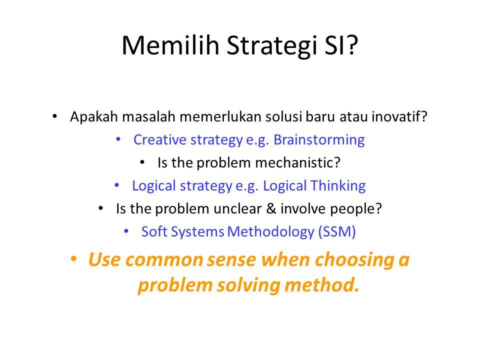 Memilih Strategi SI? Apakah masalah memerlukan solusi baru atau inovatif? Creative strategy e.g. Brainstorming Is the problem mechanistic? Logical str