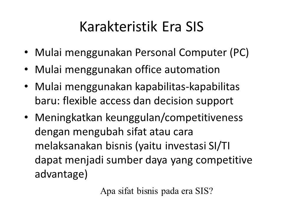Karakteristik Era SIS Mulai menggunakan Personal Computer (PC) Mulai menggunakan office automation Mulai menggunakan kapabilitas-kapabilitas baru: fle