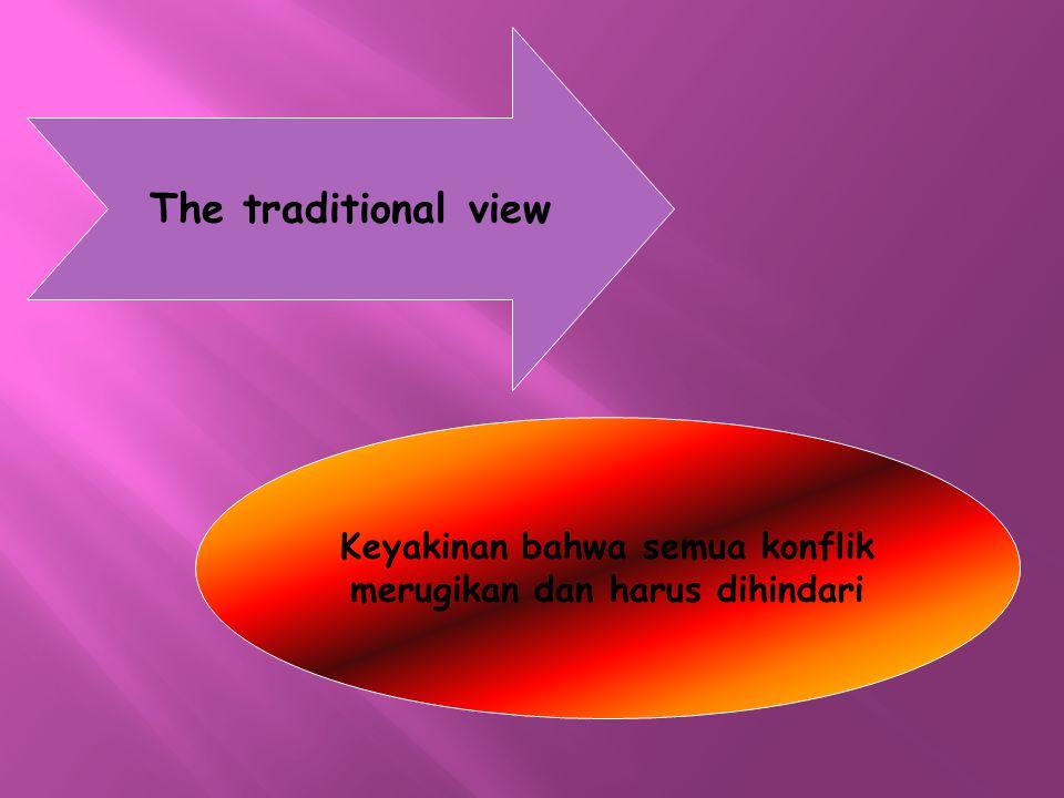 The traditional view Keyakinan bahwa semua konflik merugikan dan harus dihindari