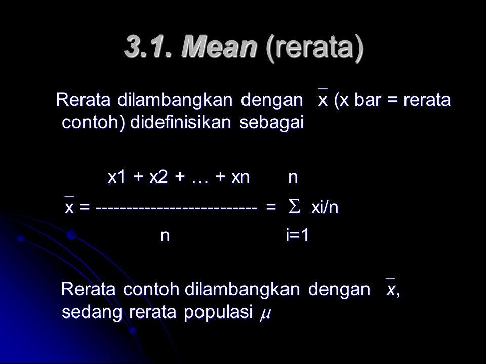 3.1. Mean (rerata) Rerata dilambangkan dengan  x (x bar = rerata contoh) didefinisikan sebagai Rerata dilambangkan dengan  x (x bar = rerata contoh)