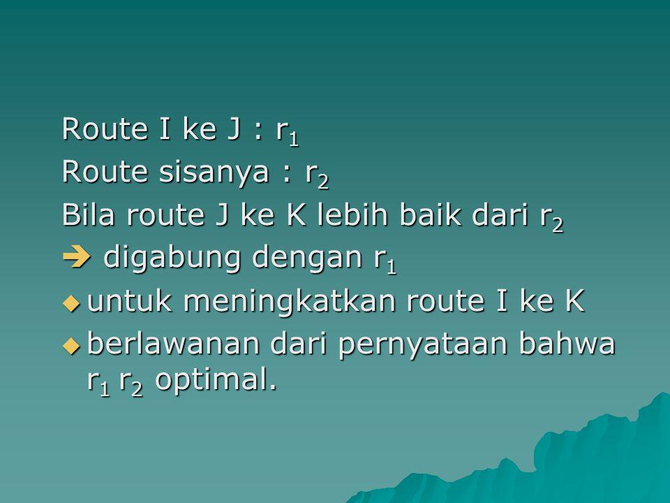Route I ke J : r 1 Route sisanya : r 2 Bila route J ke K lebih baik dari r 2  digabung dengan r 1  untuk meningkatkan route I ke K  berlawanan dari