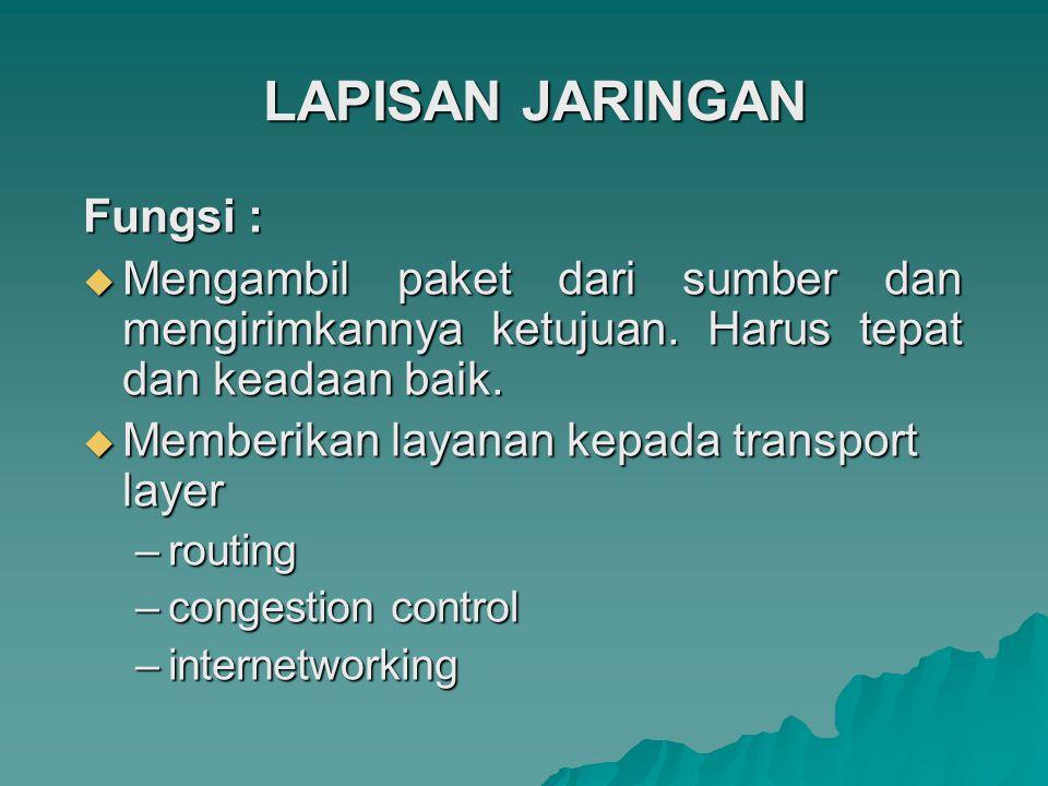 LAPISAN JARINGAN Fungsi :  Mengambil paket dari sumber dan mengirimkannya ketujuan. Harus tepat dan keadaan baik.  Memberikan layanan kepada transpo