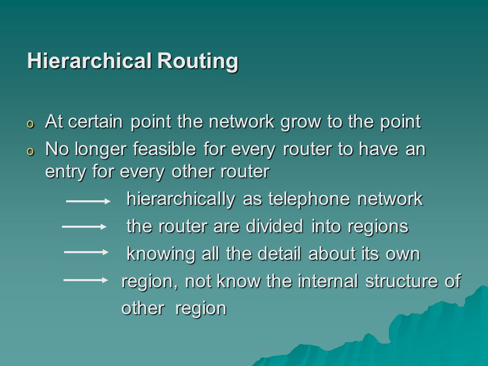 Hierarchical Routing o At certain point the network grow to the point o No longer feasible for every router to have an entry for every other router hierarchically as telephone network hierarchically as telephone network the router are divided into regions the router are divided into regions knowing all the detail about its own knowing all the detail about its own region, not know the internal structure of region, not know the internal structure of other region other region