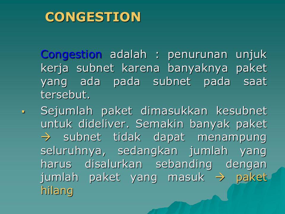 CONGESTION CONGESTION Congestion adalah : penurunan unjuk kerja subnet karena banyaknya paket yang ada pada subnet pada saat tersebut.  Sejumlah pake