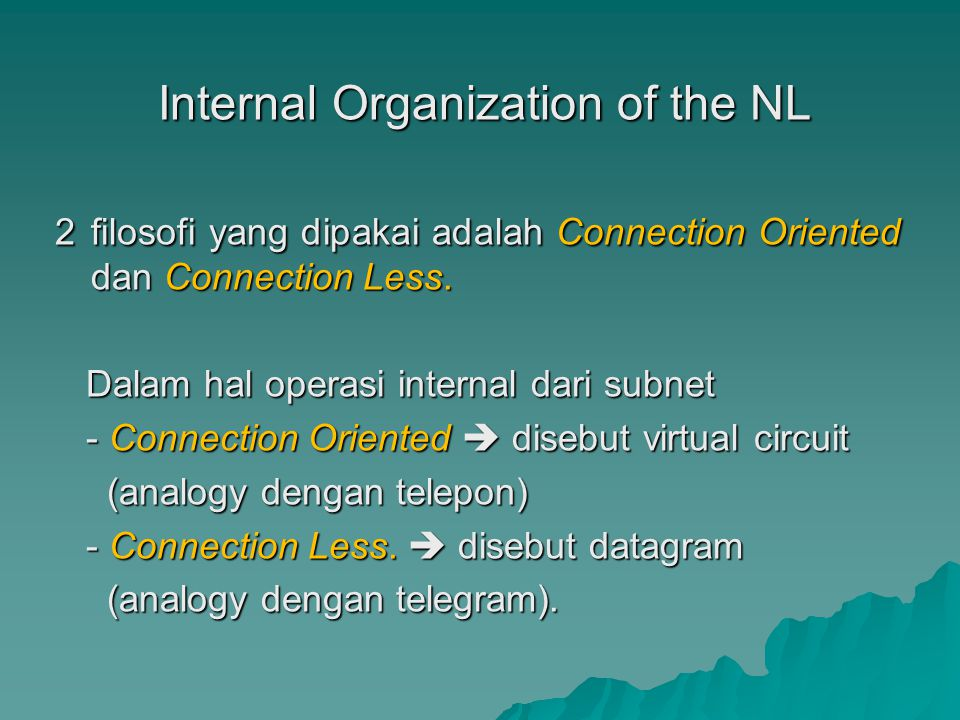 Internal Organization of the NL Internal Organization of the NL 2 filosofi yang dipakai adalah Connection Oriented dan Connection Less.